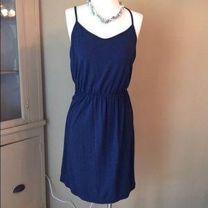 LOFT Navy Spaghetti Strap Racerback Summer Dress